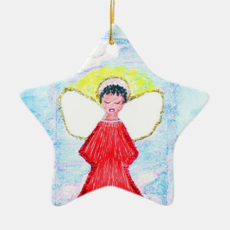 """Little Brown Angel Glitter"" star ornament"