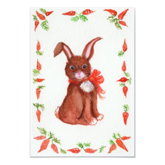 "Little Brown Bunny Rabbit with Carrots Invitation 3.5"" X 5"" Invitation Card"