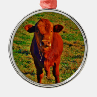 Little Brown Cow Bright Green Grass Christmas Ornament