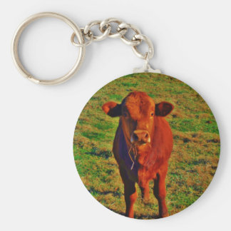 Little Brown Cow Bright Green Grass Key Ring