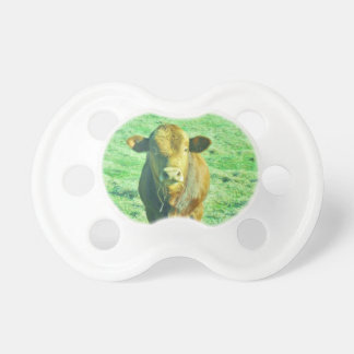 Little Brown Cow in Pastel Green Grass Pacifiers