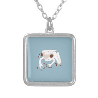 Little Brown Frog on BLUE Silver Plated Necklace