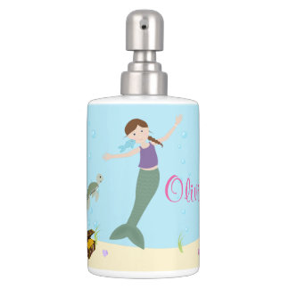 Little Brown Hair Mermaid Ocean Bath Set
