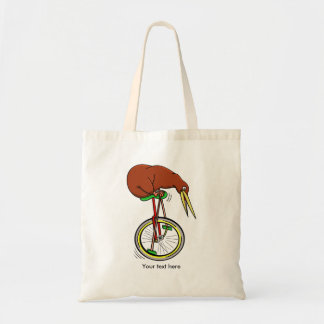 Little Brown Kiwi On A Red Unicycle Budget Tote Bag