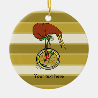 Little Brown Kiwi On A Red Unicycle Christmas Ornament