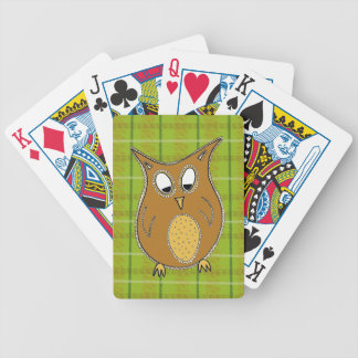Little Brown Owl on Green Tartan Playing Cards