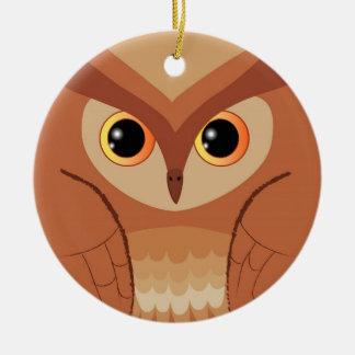 Little brown owl round ceramic decoration