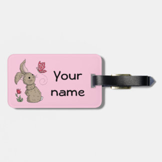 Little Brown Spring Bunny Luggage Tag