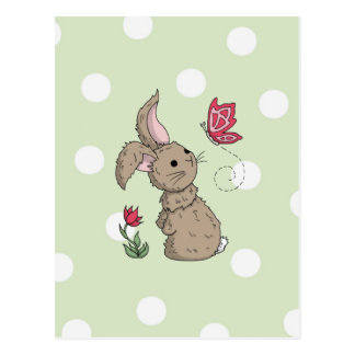 Little Brown Spring Bunny Postcard