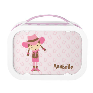 Little Brunette Cowgirl {pink} Lunch Box