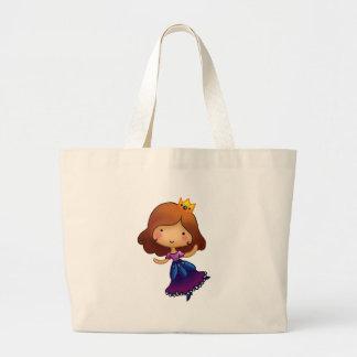 Little Brunette Princess Tote Bags