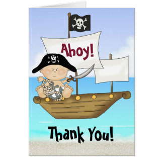 Little Buccaneer Baby Boy Pirate Thank You Cards