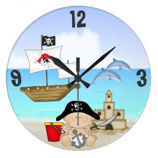 Little Buccaneer Baby Pirate Beach Wall Clock