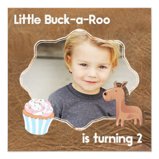 Little Buckaroo Second Birthday Picture Card