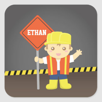 Little Builder Boy Construction Theme Square Sticker