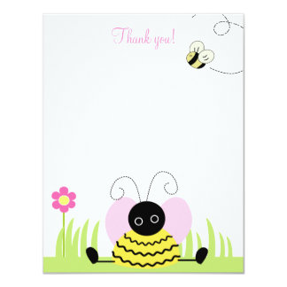 """Little Bumble Bee 4x5 Flat Thank you note 4.25"""" X 5.5"""" Invitation Card"""