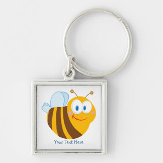 Little Bumblebee (personalized) Silver-Colored Square Key Ring