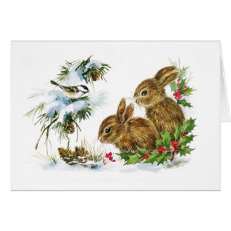 Little Bunnies Christmas Greeting Card