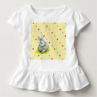 Little Bunnies Cute White Toddler Ruffle Tee