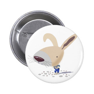 Little Bunny In Blue Pants Is Writing Round Button