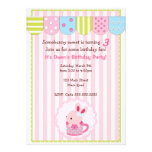 Little Bunny in Cup Girl Birthday Party Personalized Announcement
