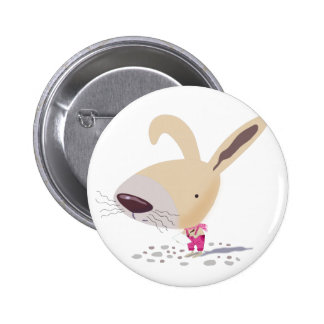 Little Bunny In Pink Pants Is Writing Round Button