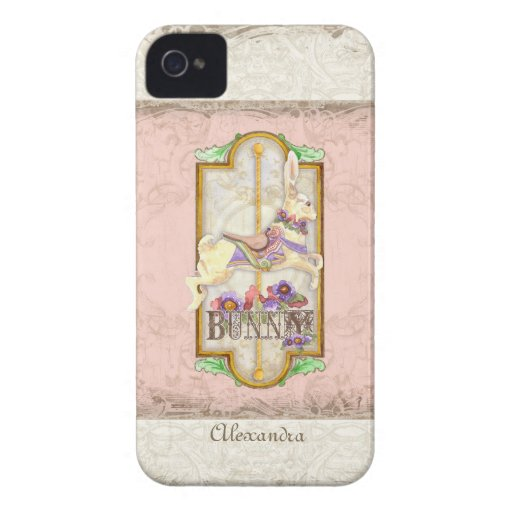 Little Bunny Sweet Girl Circus Carousel Vintage iPhone 4 Cases