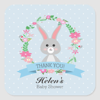 Little Bunny with floral wreath Baby Shower square Square Sticker