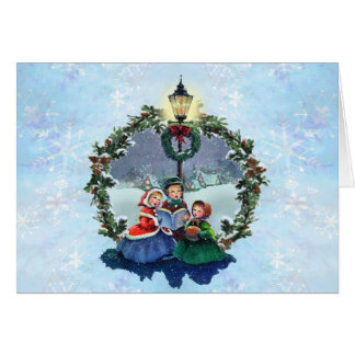 LITTLE CAROLERS & WREATH by SHARON SHARPE Card
