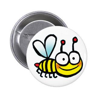 little cartoon bee 6 cm round badge