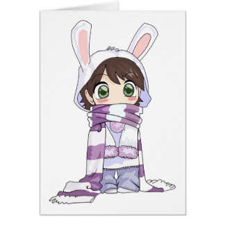 Little Cartoon Girl in Bunny Hood and Scarf Greeting Card