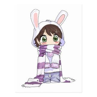 Little Cartoon Girl in Bunny Hood and Scarf Postcard