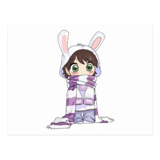 Little Cartoon Girl in Bunny Hood and Scarf Post Cards
