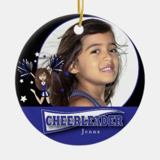Little Cheerleader - DIY Photo -  Dark Blue Round Ceramic Decoration