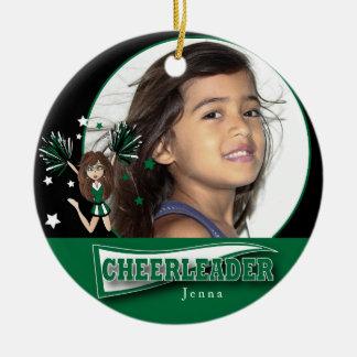 Little Cheerleader - DIY Photo -  Dark Green Round Ceramic Decoration