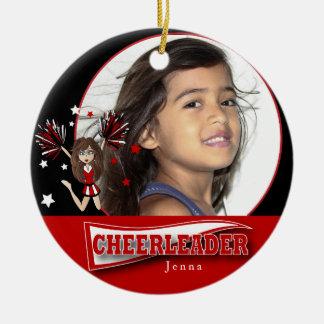 Little Cheerleader - DIY Photo -  Dark Red Round Ceramic Decoration