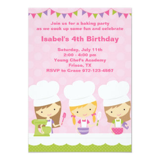 "Little Chef Baking Birthday Party Invitations 5"" X 7"" Invitation Card"