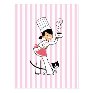 Little Chef Illustration on Postcard