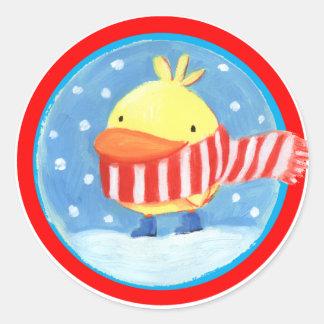 little chick in winter round sticker