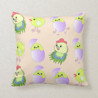 little chickens and chicken cushion