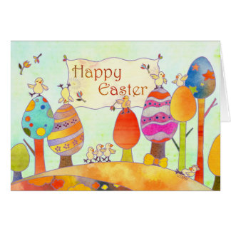 Little Chicks in Easter Land Card