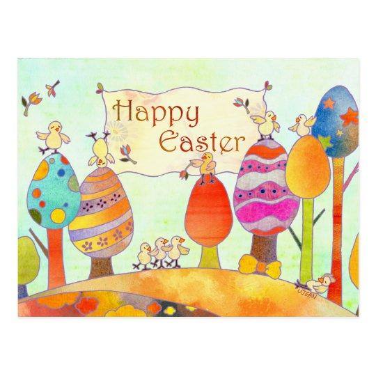 Little Chicks in Easter Land Postcard