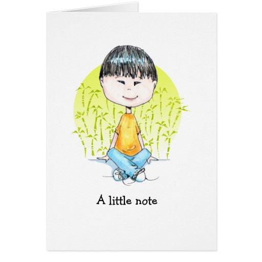 Little China Boy in jeans note cards