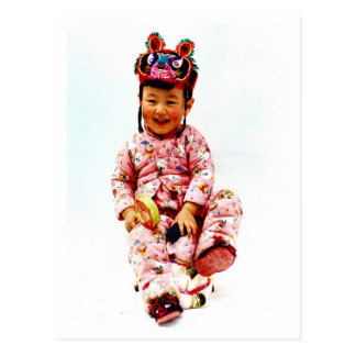 Little Chinese girl and her doll Postcard