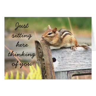 Little chipmunk thinking of you greeting card