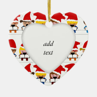 Little Christmas Carolers Ceramic Heart Decoration