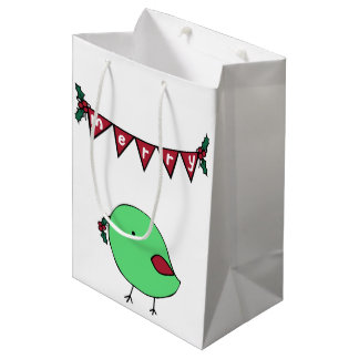 Little Christmas chick and garland giftbag Medium Gift Bag