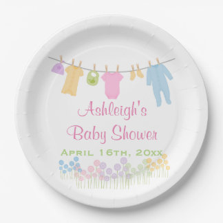 Little Clothes Baby Shower 9 Inch Paper Plate
