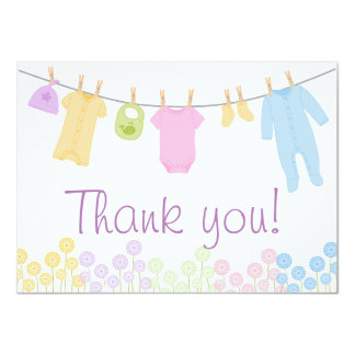 Little Clothes Baby Shower Thank You Cards 11 Cm X 16 Cm Invitation Card
