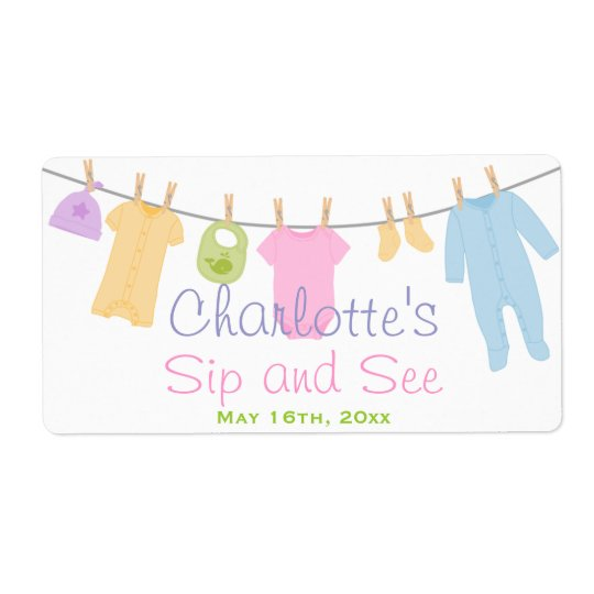 Little Clothes Baby Sip and See Shipping Label